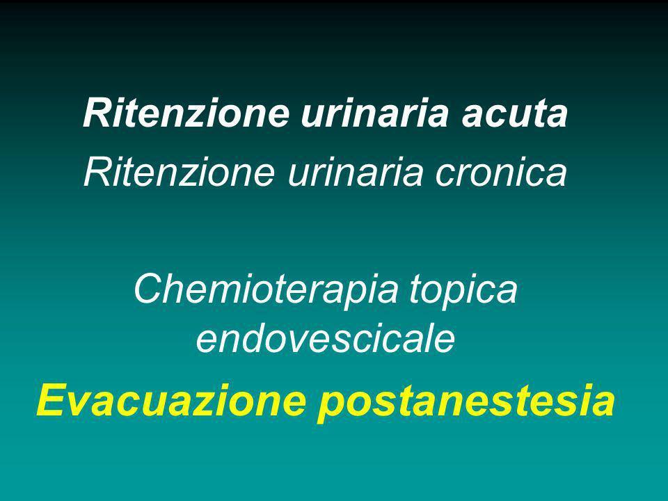 Ritenzione urinaria acuta Evacuazione postanestesia