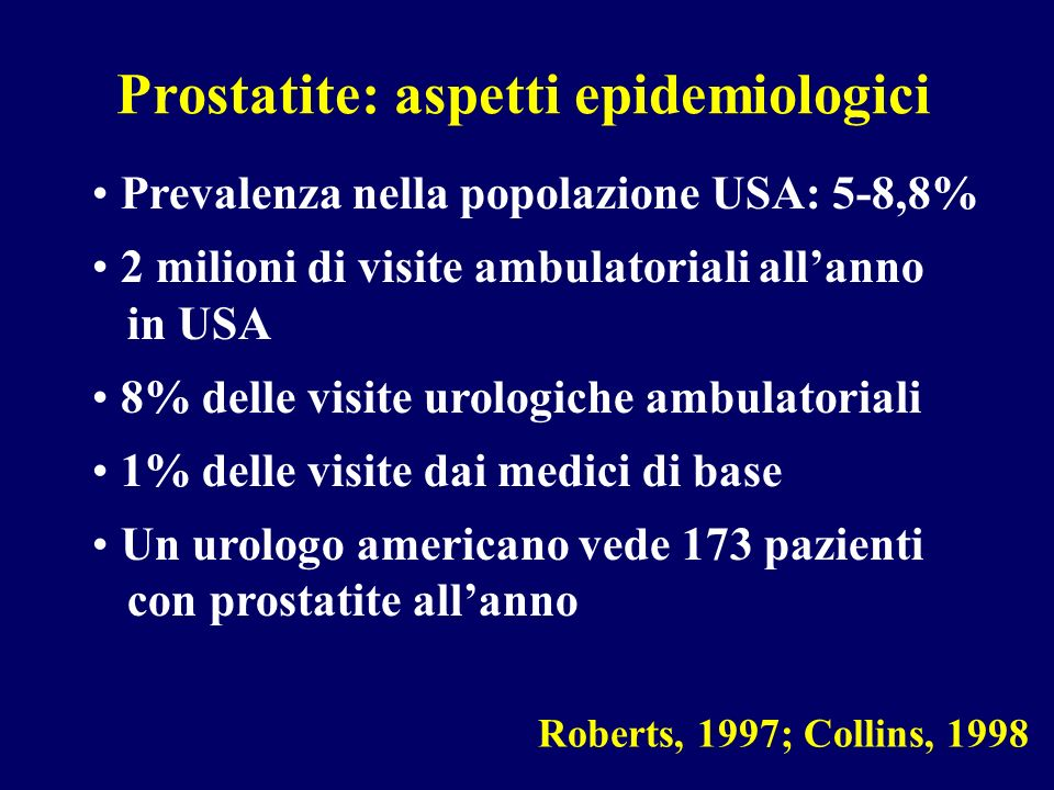 Prostatite: aspetti epidemiologici