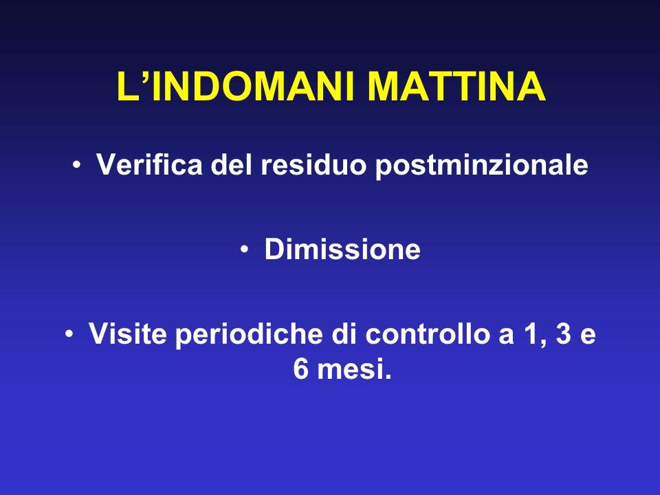L'INDOMANI MATTINA Verifica del residuo postminzionale Dimissione
