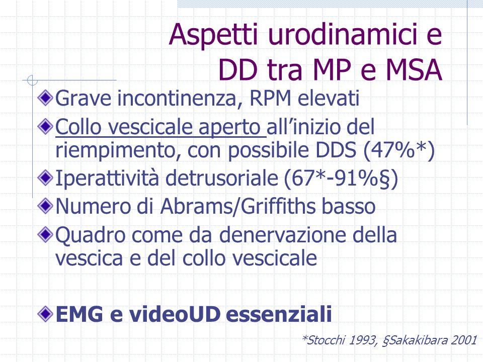 Aspetti urodinamici e DD tra MP e MSA