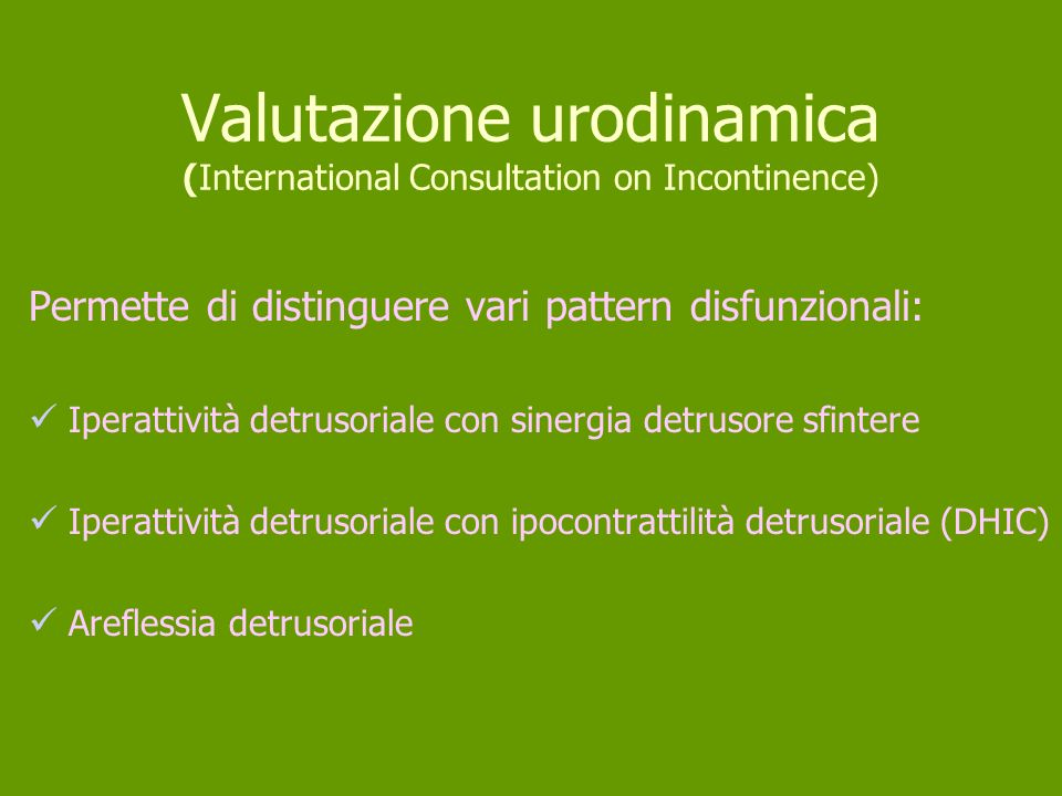 Valutazione urodinamica (International Consultation on Incontinence)
