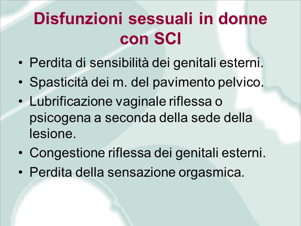 Disfunzioni sessuali in donne con SCI
