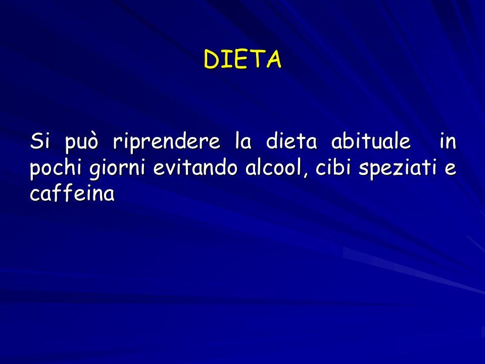 DIETA Si può riprendere la dieta abituale in pochi giorni evitando alcool, cibi speziati e caffeina.