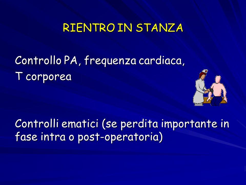 RIENTRO IN STANZAControllo PA, frequenza cardiaca, T corporea.