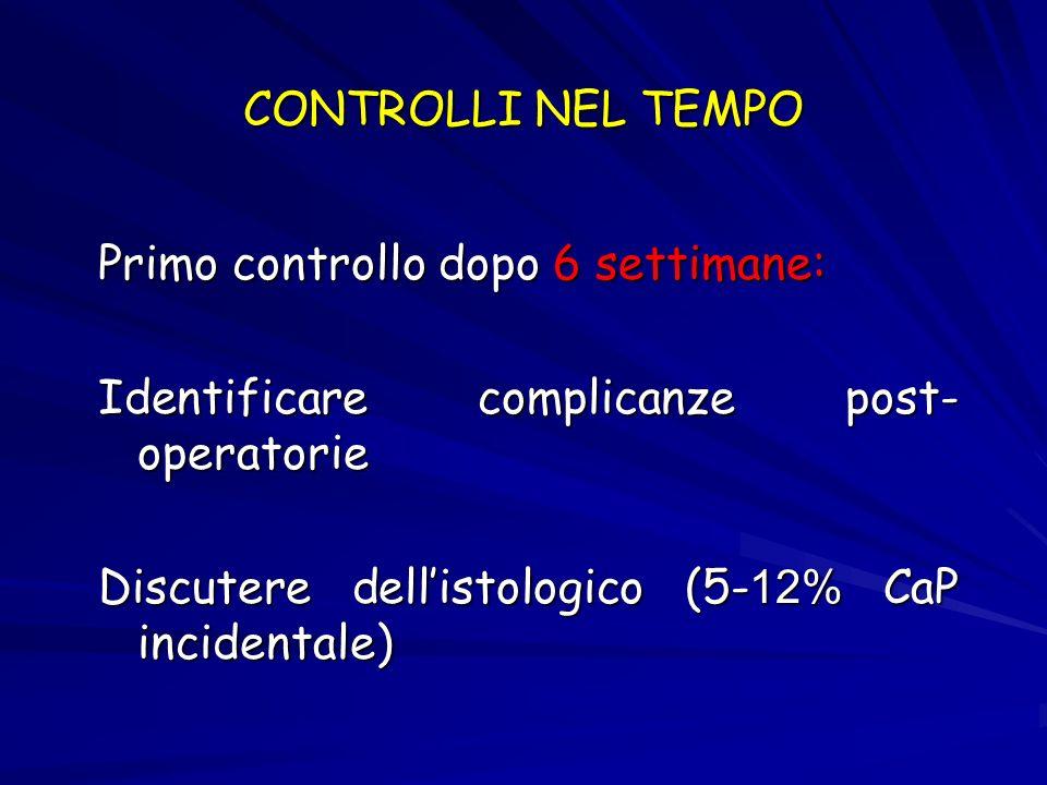 CONTROLLI NEL TEMPO Primo controllo dopo 6 settimane: Identificare complicanze post-operatorie.