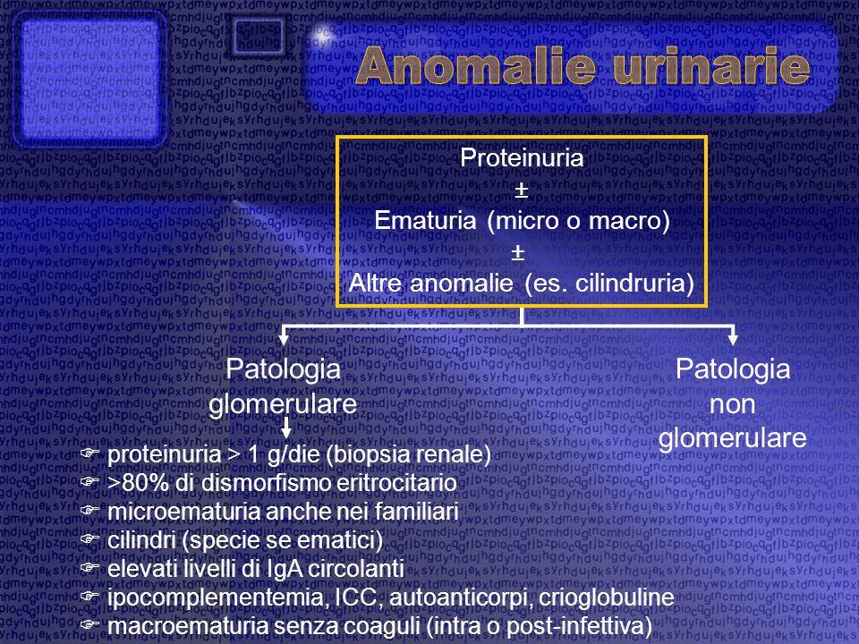 Anomalie urinarie Patologia glomerulare Patologia non glomerulare