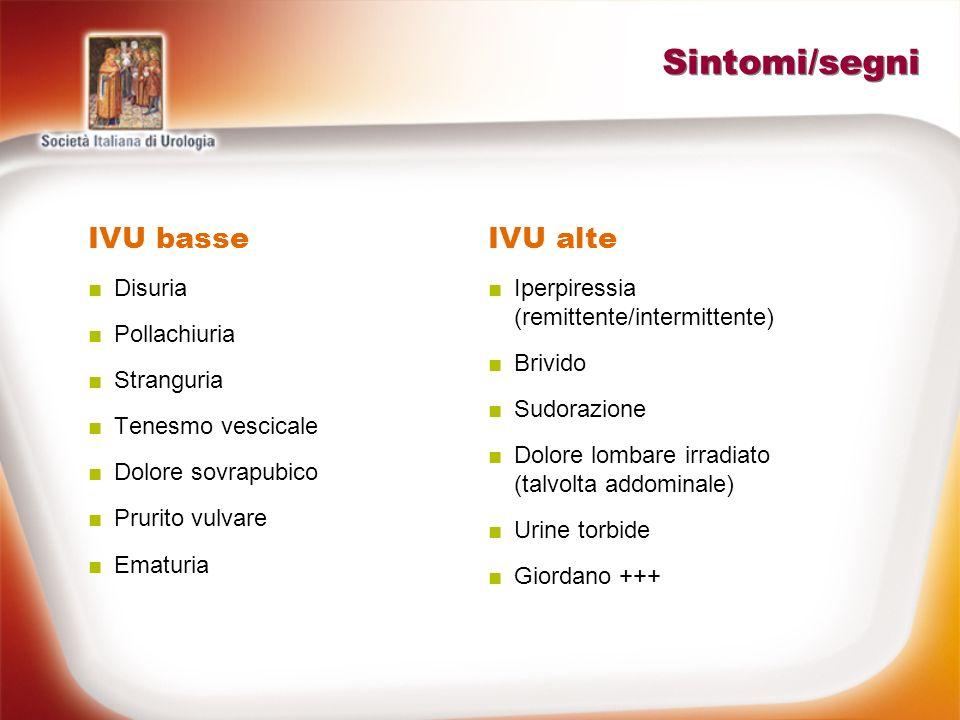 Sintomi/segni IVU basse IVU alte Disuria Pollachiuria Stranguria