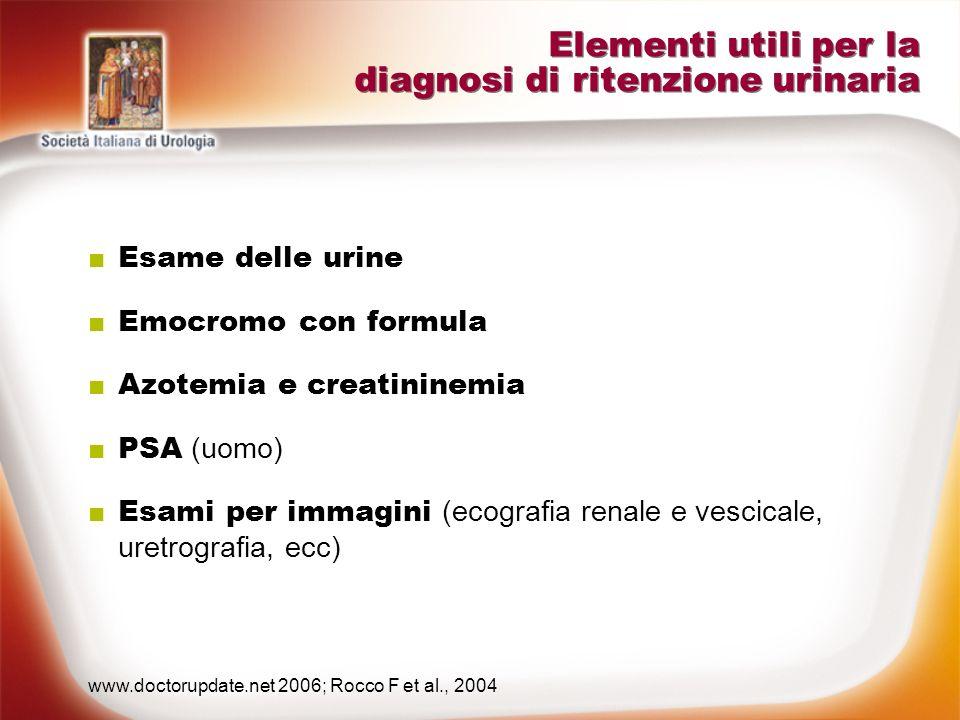 Elementi utili per la diagnosi di ritenzione urinaria