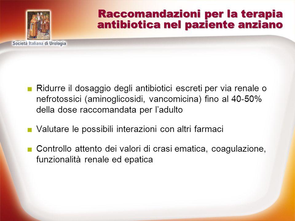 Raccomandazioni per la terapia antibiotica nel paziente anziano