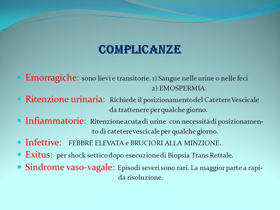 COMPLICANZE Emorragiche: sono lievi e transitorie. 1) Sangue nelle urine o nelle feci. 2) EMOSPERMIA.
