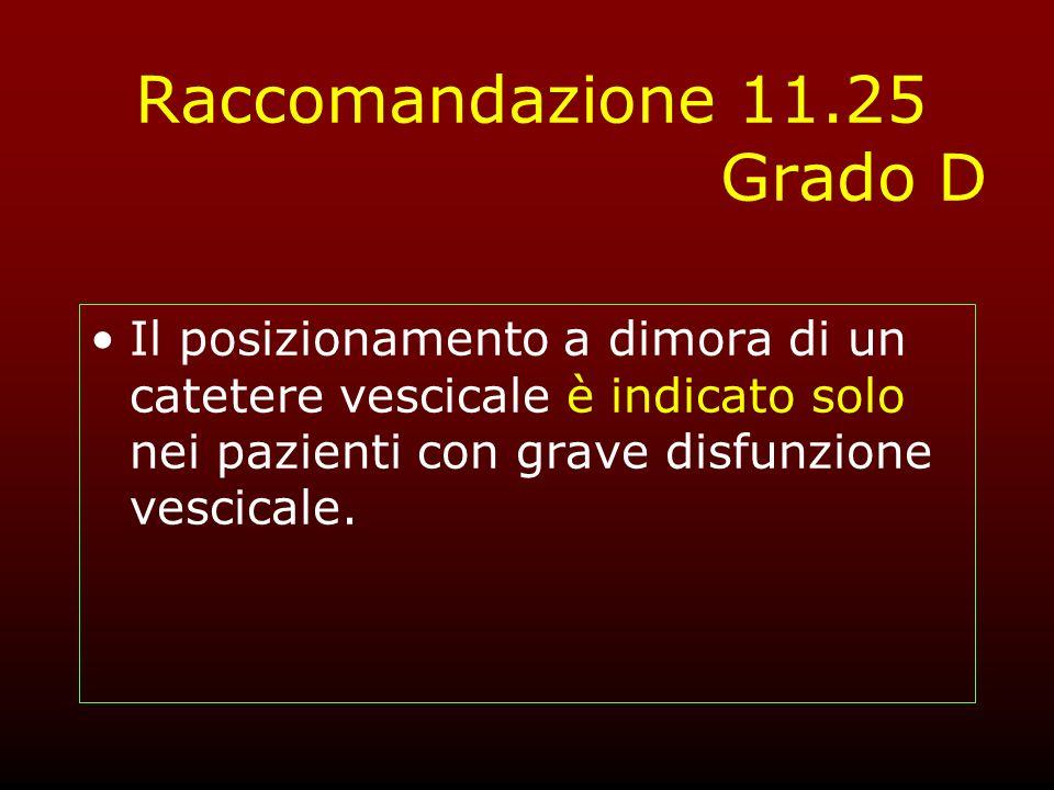 Raccomandazione 11.25 Grado D