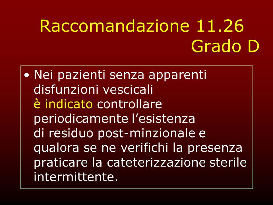 Raccomandazione 11.26 Grado D