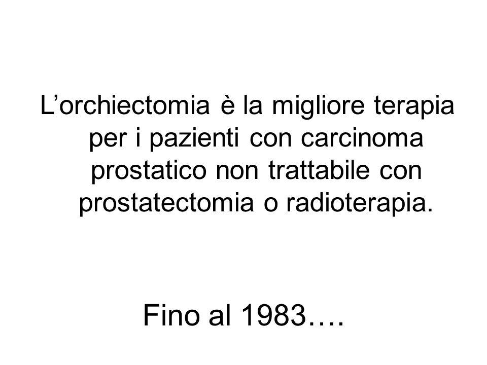 L'orchiectomia è la migliore terapia per i pazienti con carcinoma prostatico non trattabile con prostatectomia o radioterapia.