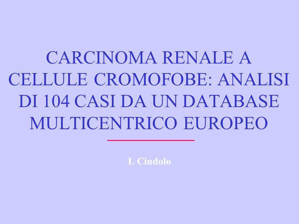 CARCINOMA RENALE A CELLULE CROMOFOBE: ANALISI DI 104 CASI DA UN DATABASE MULTICENTRICO EUROPEO