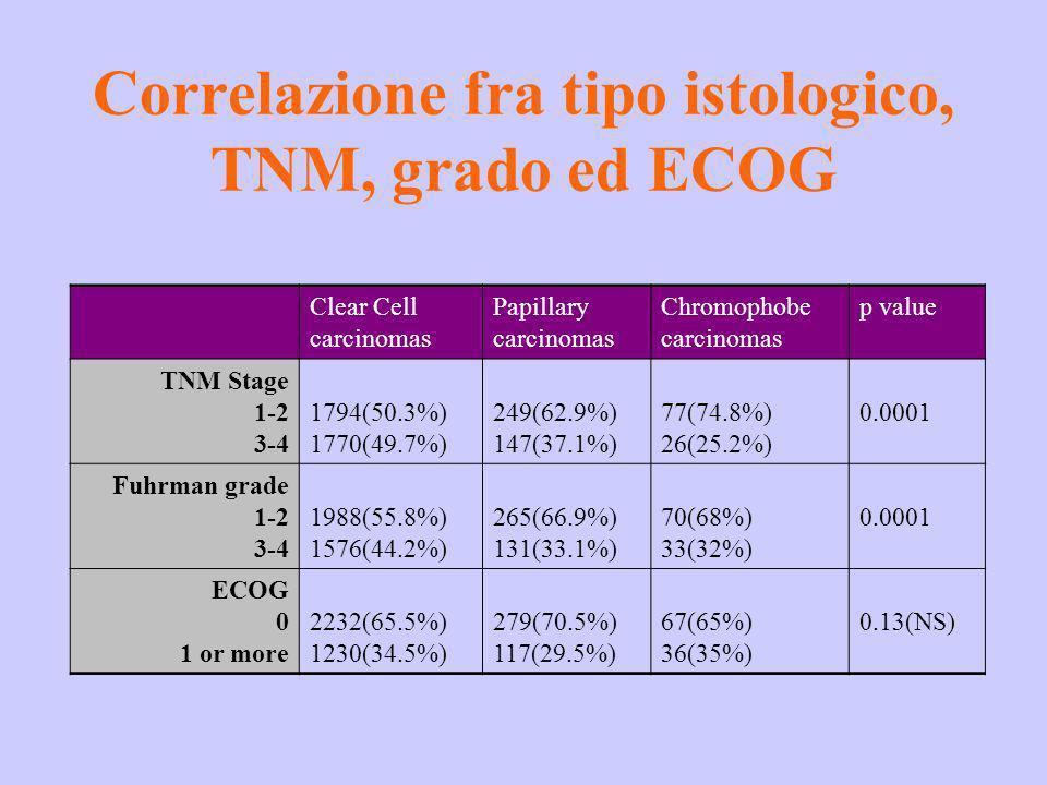 Correlazione fra tipo istologico, TNM, grado ed ECOG