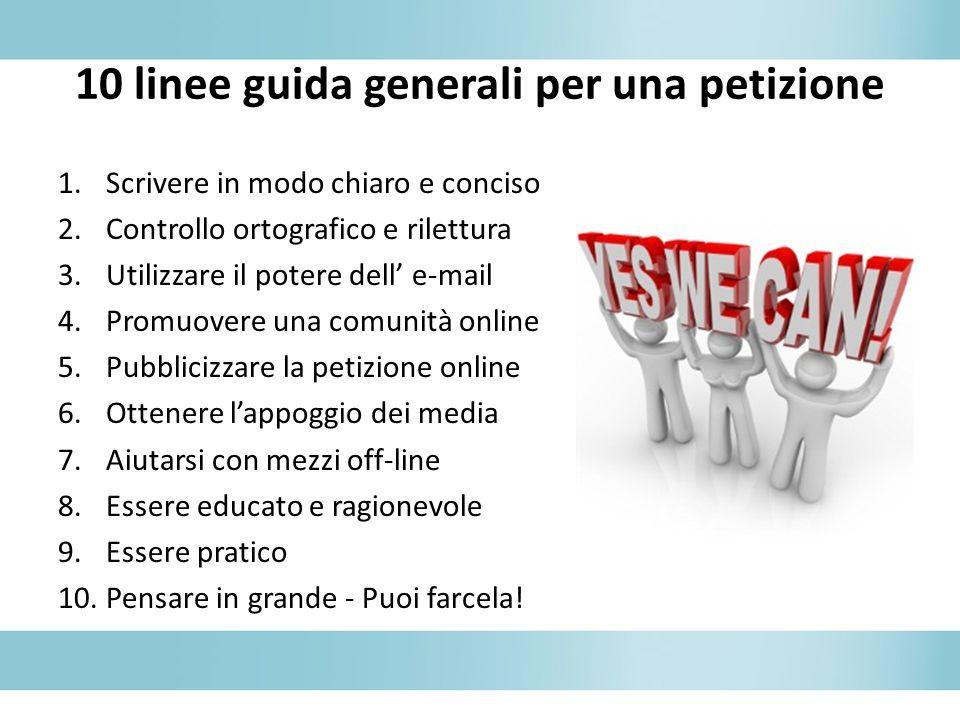 10 linee guida generali per una petizione
