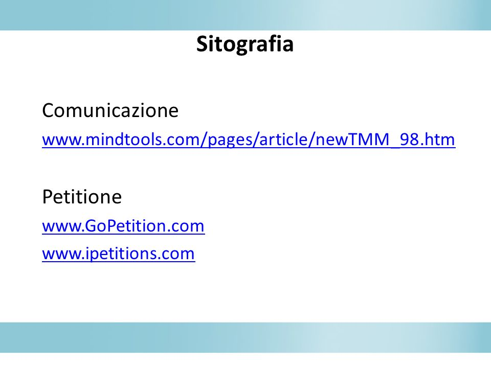 Sitografia Comunicazione Petitione
