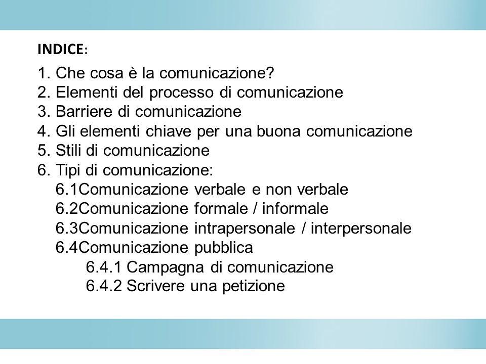 INDICE: Che cosa è la comunicazione Elementi del processo di comunicazione. Barriere di comunicazione.