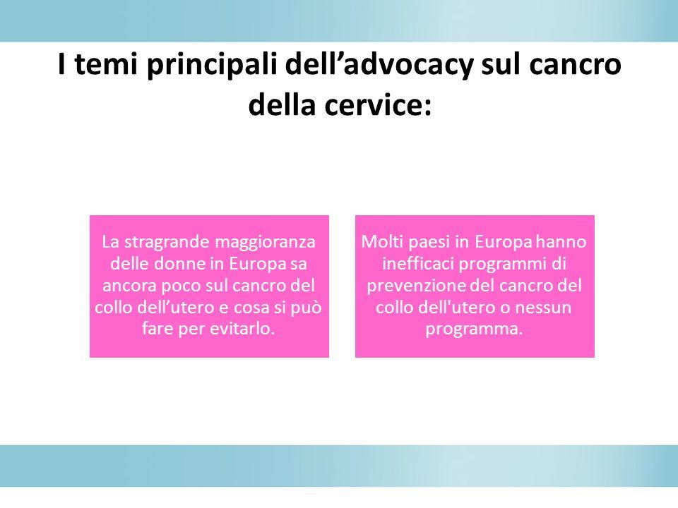I temi principali dell'advocacy sul cancro della cervice: