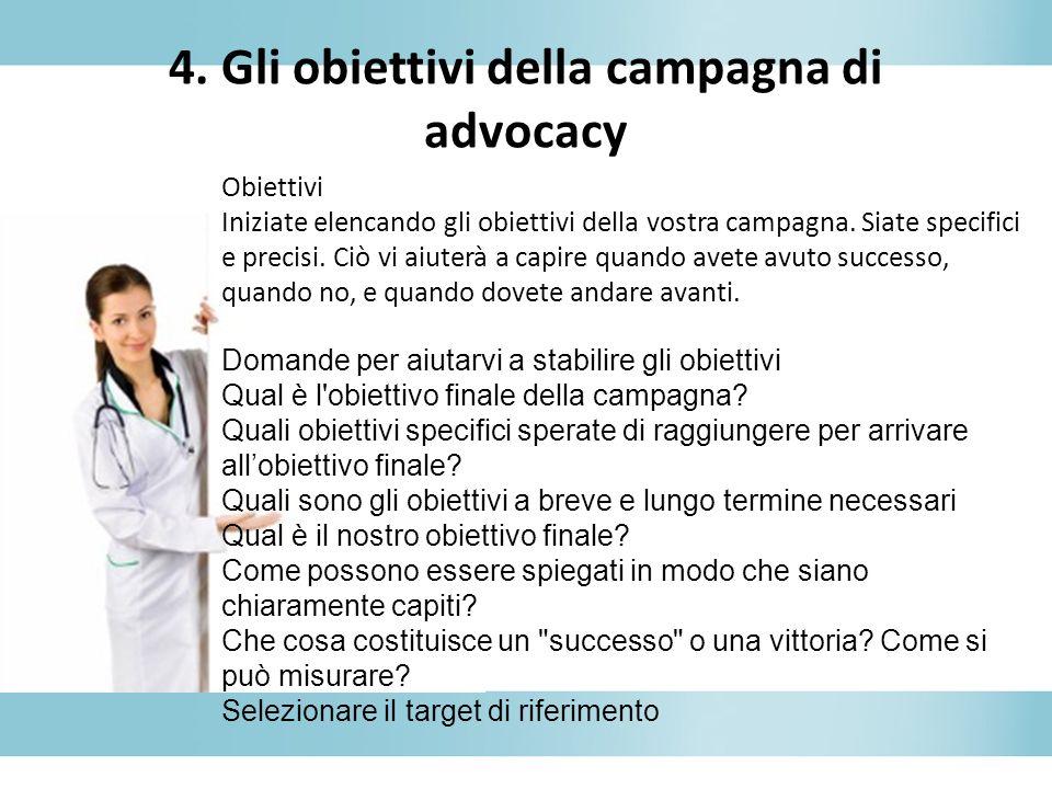 4. Gli obiettivi della campagna di advocacy