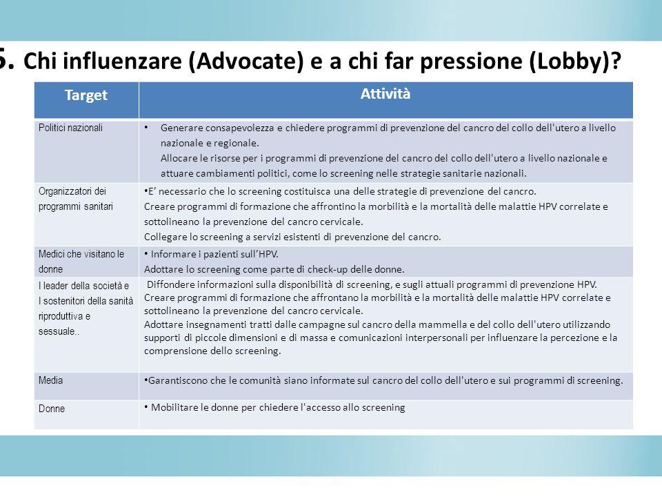 5. Chi influenzare (Advocate) e a chi far pressione (Lobby)