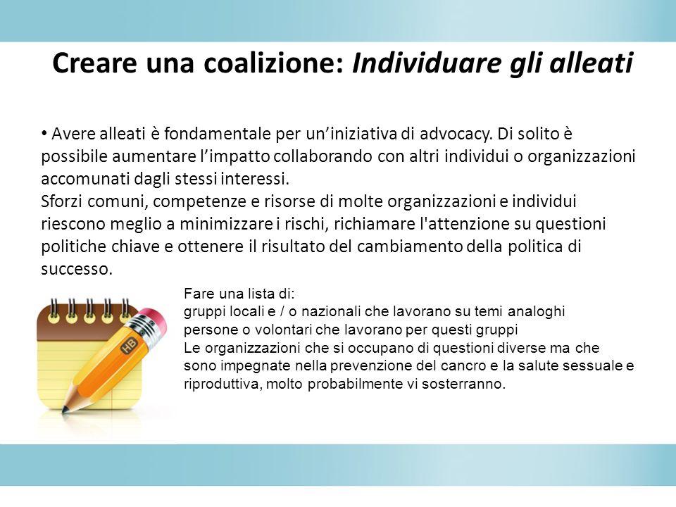 Creare una coalizione: Individuare gli alleati