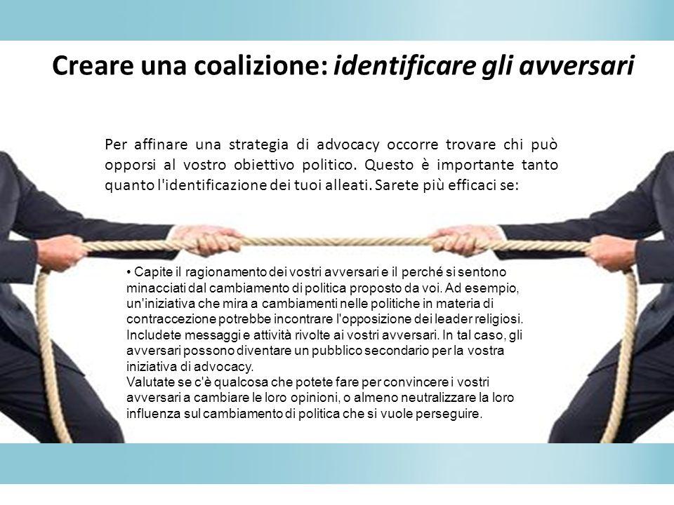 Creare una coalizione: identificare gli avversari
