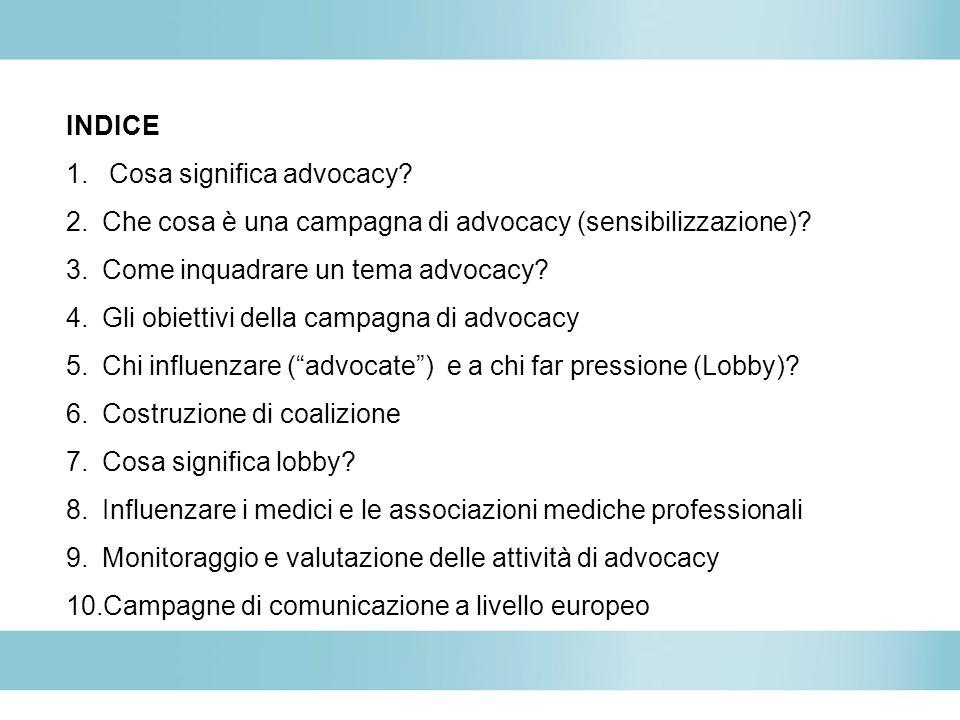 INDICE Cosa significa advocacy Che cosa è una campagna di advocacy (sensibilizzazione) Come inquadrare un tema advocacy