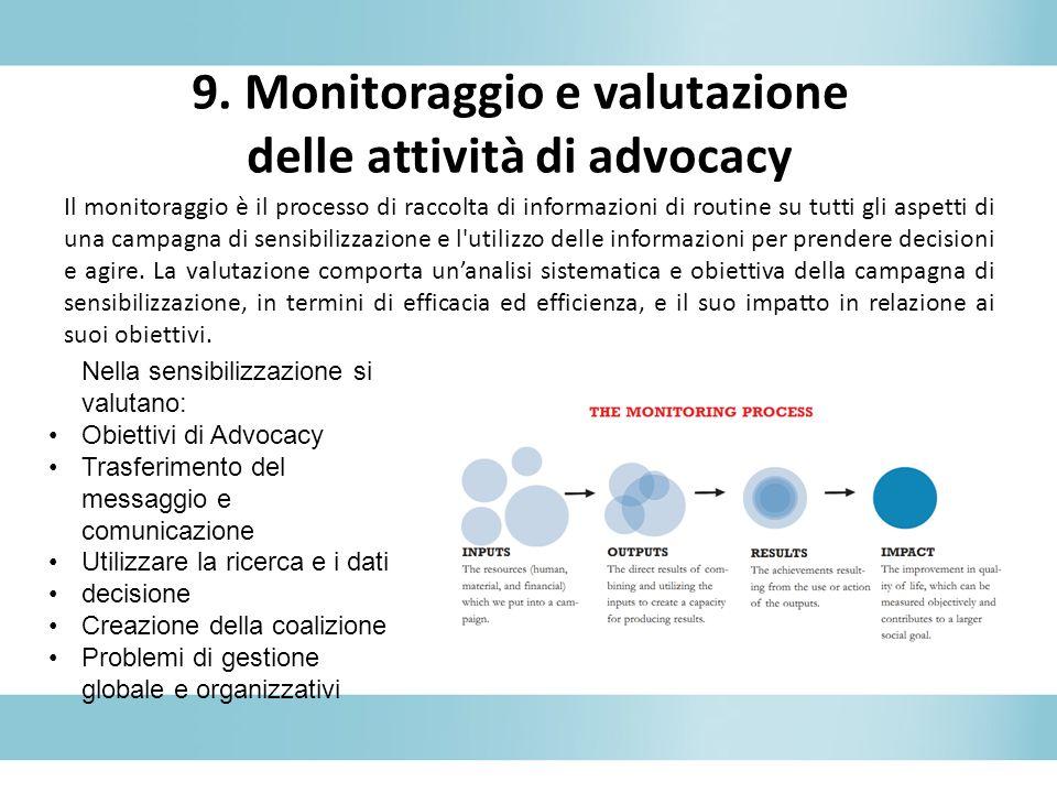 9. Monitoraggio e valutazione delle attività di advocacy
