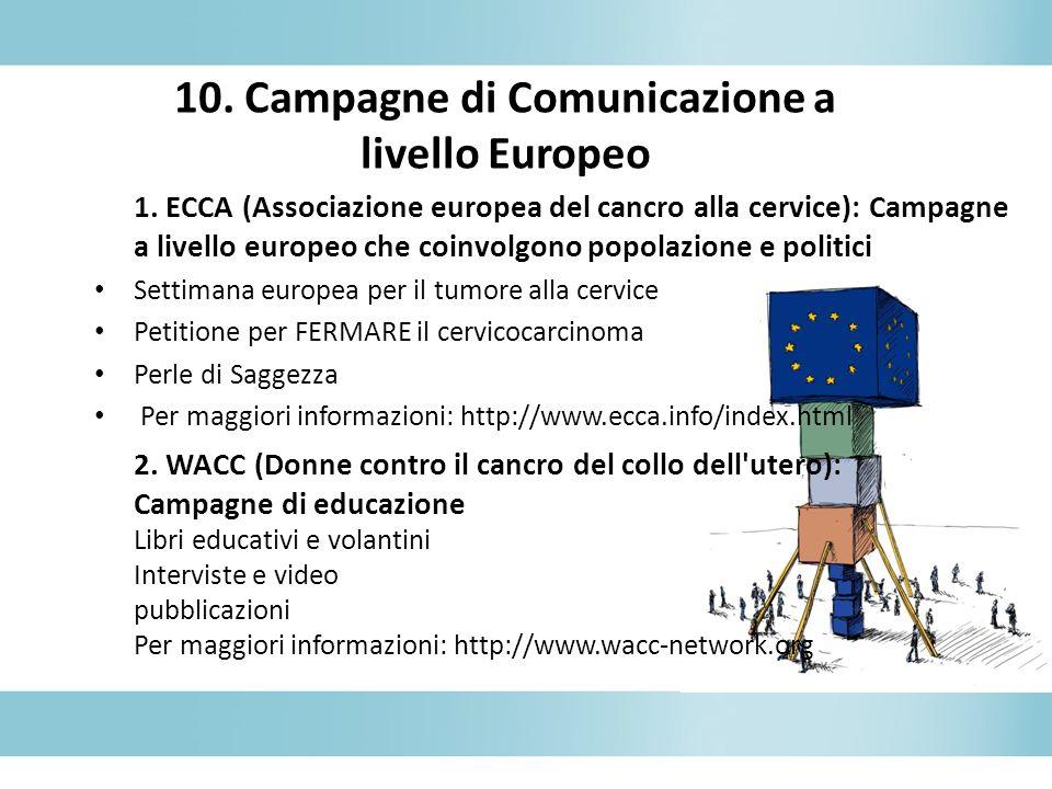 10. Campagne di Comunicazione a livello Europeo