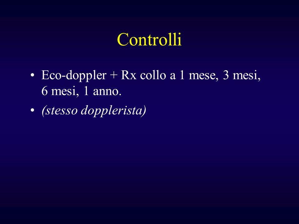 Controlli Eco-doppler + Rx collo a 1 mese, 3 mesi, 6 mesi, 1 anno.