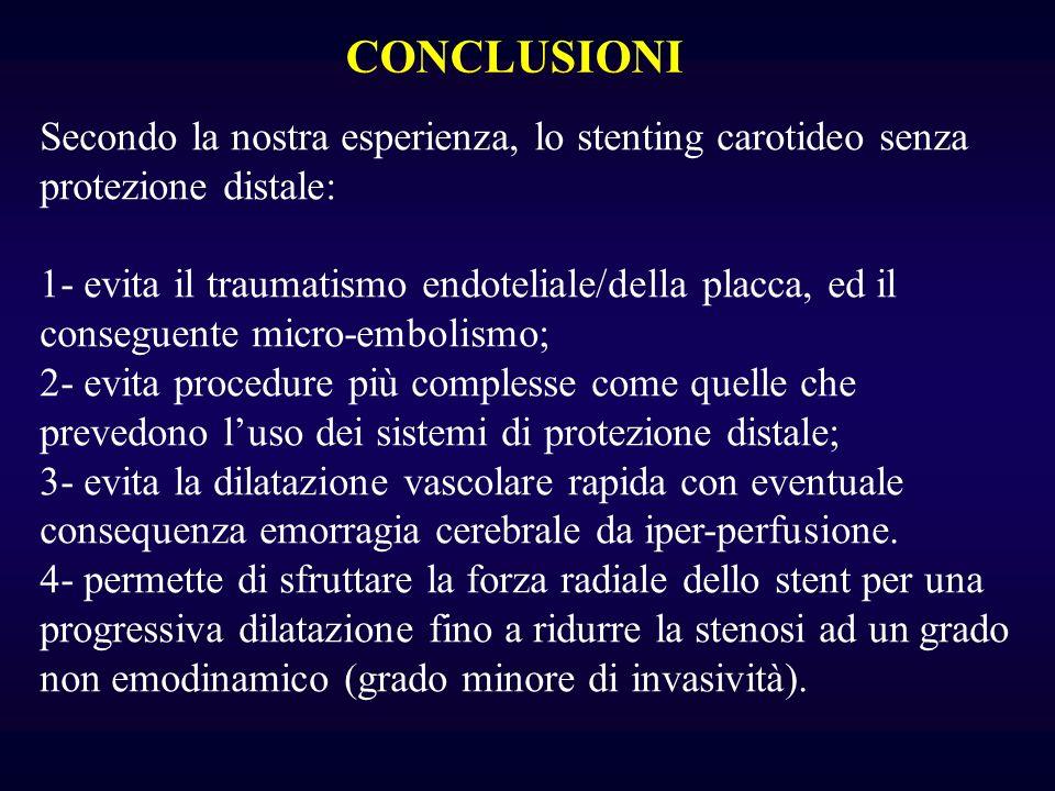 CONCLUSIONI Secondo la nostra esperienza, lo stenting carotideo senza protezione distale: