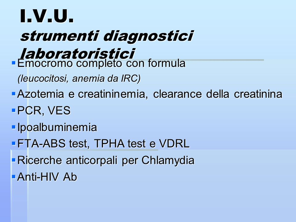 I.V.U. strumenti diagnostici laboratoristici