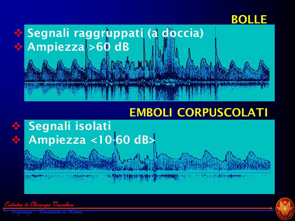Segnali raggruppati (a doccia) Ampiezza >60 dB
