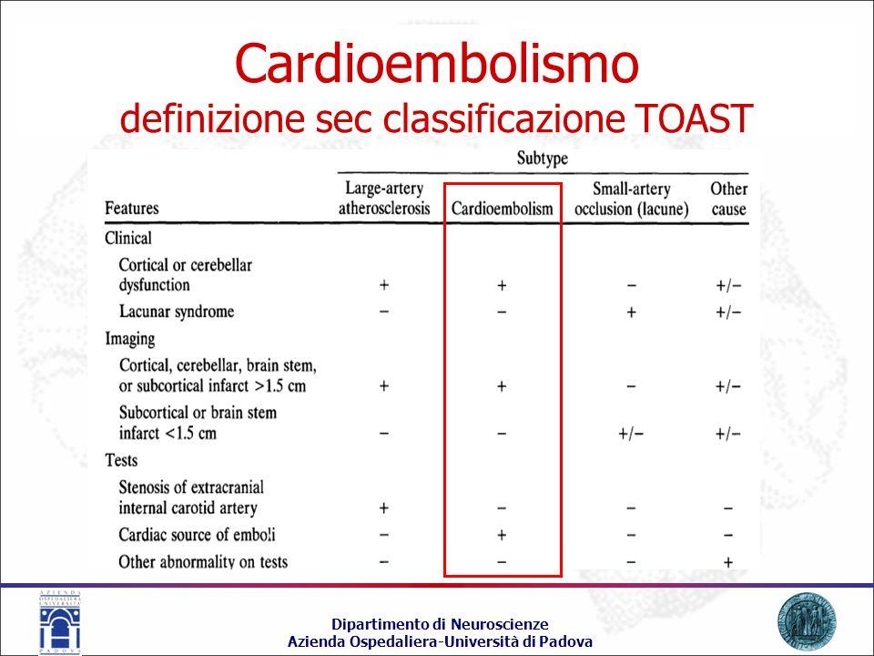 Cardioembolismo definizione sec classificazione TOAST