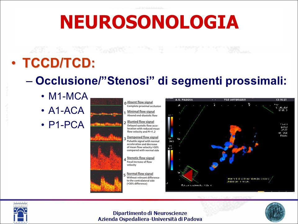 NEUROSONOLOGIA TCCD/TCD: Occlusione/ Stenosi di segmenti prossimali: