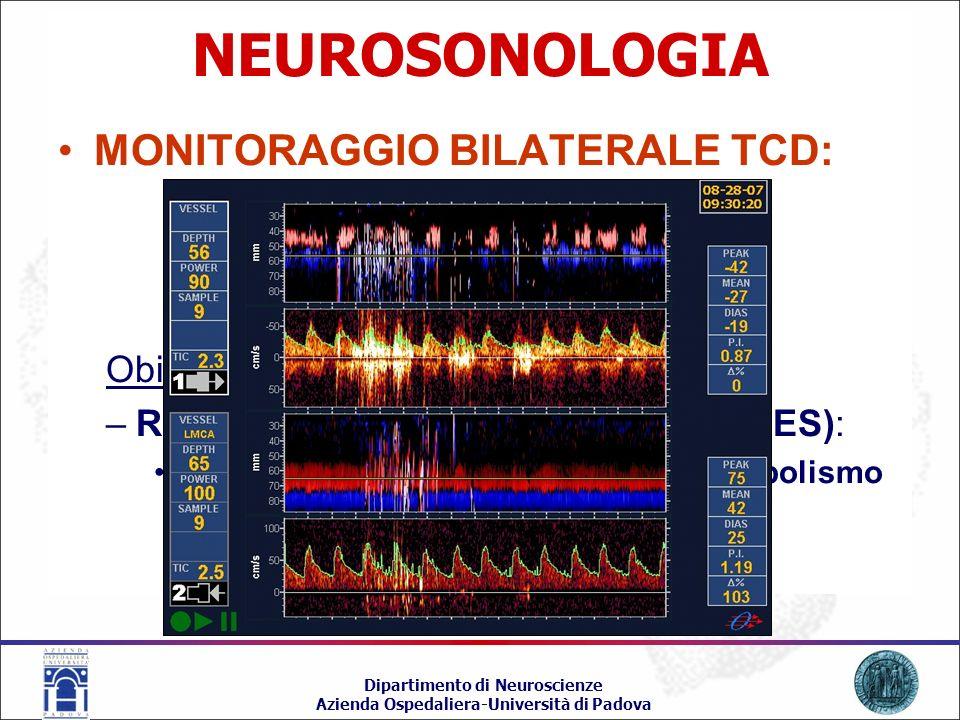 NEUROSONOLOGIA MONITORAGGIO BILATERALE TCD: Obiettivo: