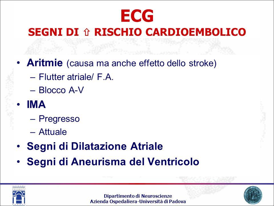 ECG SEGNI DI  RISCHIO CARDIOEMBOLICO