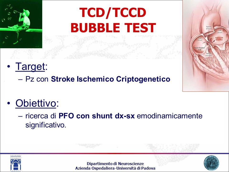 TCD/TCCD BUBBLE TEST Target: Obiettivo: