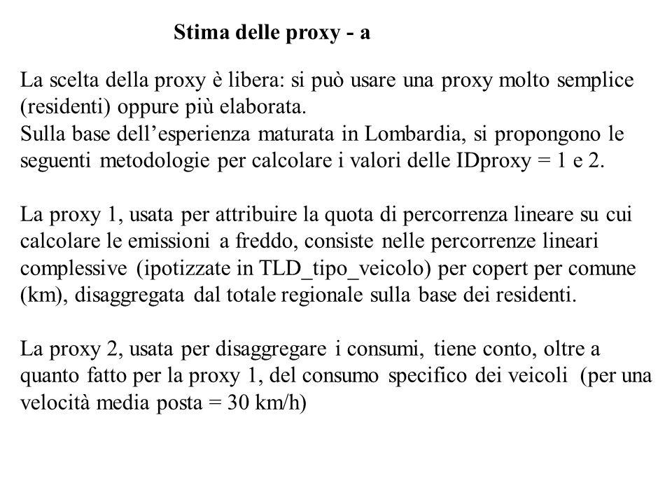 Stima delle proxy - aLa scelta della proxy è libera: si può usare una proxy molto semplice (residenti) oppure più elaborata.