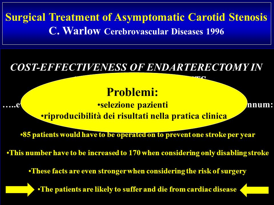 Problemi: Surgical Treatment of Asymptomatic Carotid Stenosis