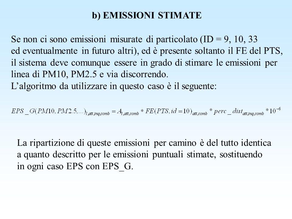 b) EMISSIONI STIMATE Se non ci sono emissioni misurate di particolato (ID = 9, 10, 33.