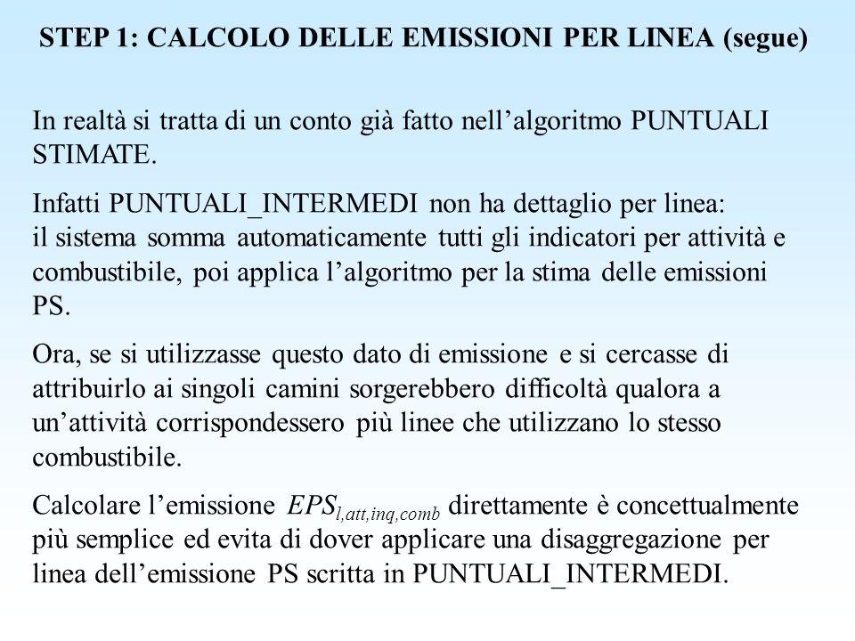 STEP 1: CALCOLO DELLE EMISSIONI PER LINEA (segue)