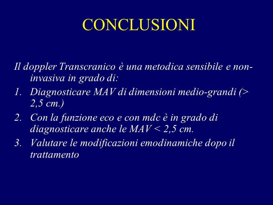 CONCLUSIONI Il doppler Transcranico è una metodica sensibile e non-invasiva in grado di: Diagnosticare MAV di dimensioni medio-grandi (> 2,5 cm.)