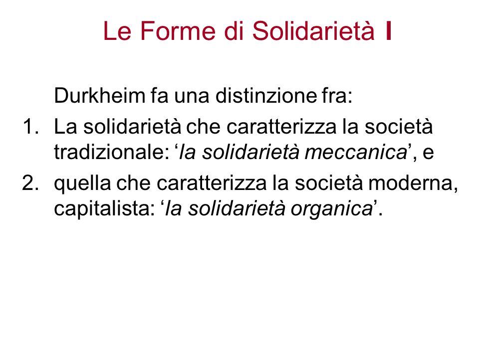 Le Forme di Solidarietà I