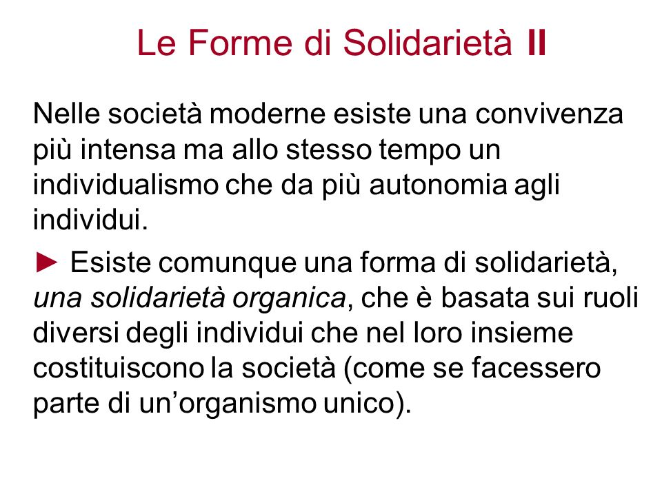 Le Forme di Solidarietà II