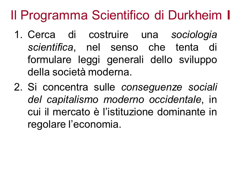 Il Programma Scientifico di Durkheim I
