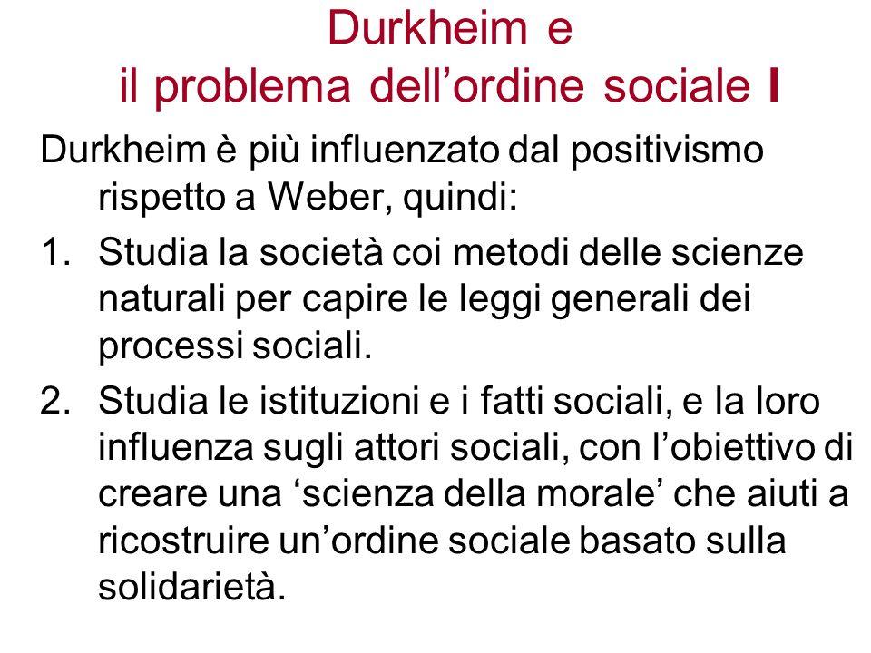 Durkheim e il problema dell'ordine sociale I