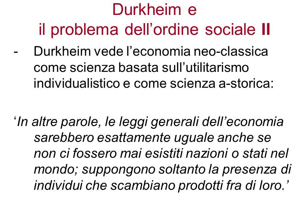 Durkheim e il problema dell'ordine sociale II