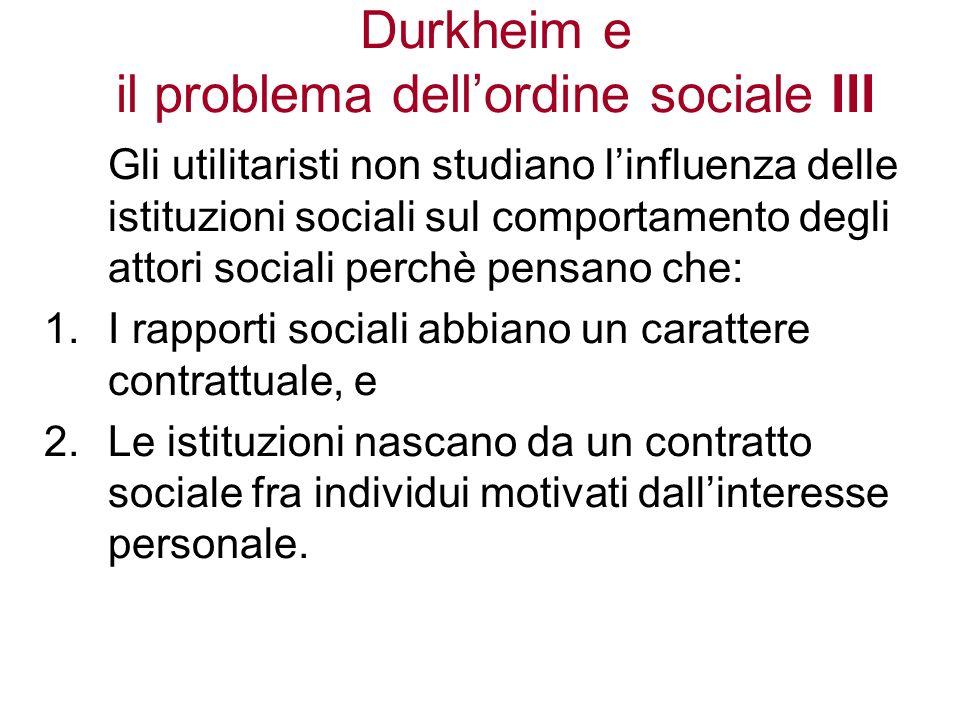 Durkheim e il problema dell'ordine sociale III